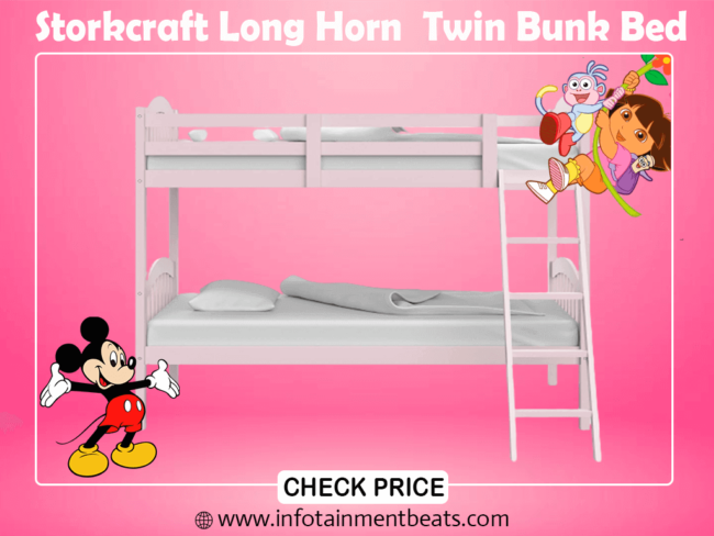 4- Storkcraft Long Horn Solid Hardwood Twin Bunk Bed