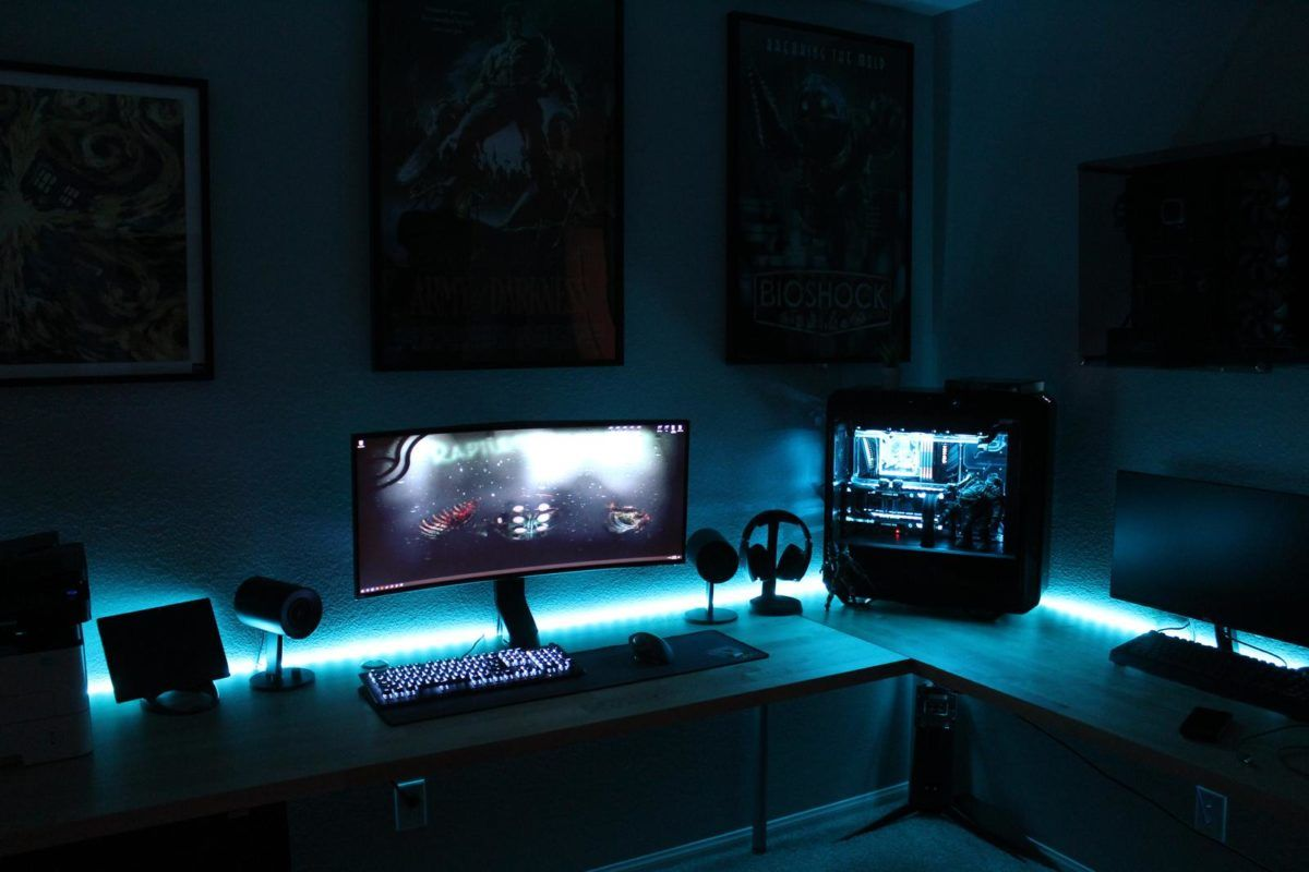 dark gaming setup