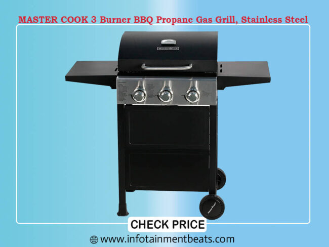 MASTER COOK 3 Burner BBQ Propane Gas Grill, Stainless Steel