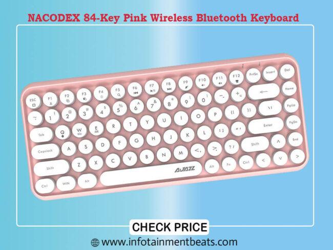 NACODEX 84-Key Pink Wireless Bluetooth Keyboard with Cute