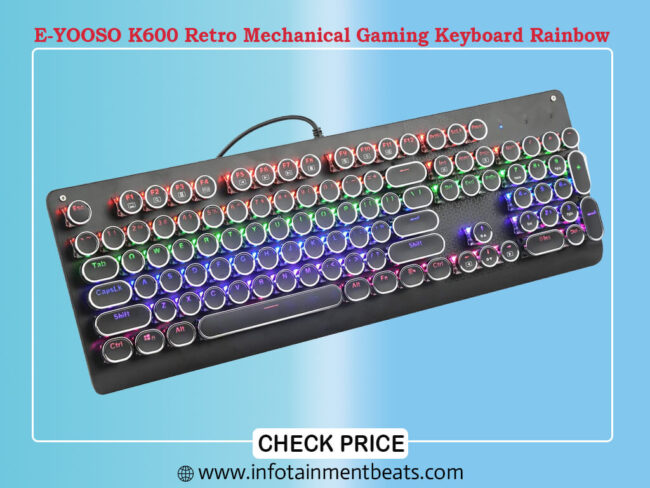 E-YOOSO K600 Retro Mechanical Gaming Keyboard Rainbow