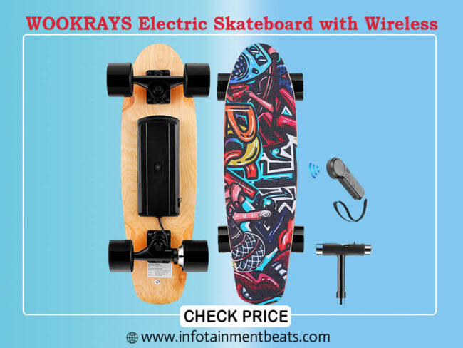 WOOKRAYS Electric Skateboard with Wireless
