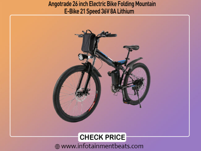 Angotrade 26 inch Electric Bike Folding Mountain E-Bike 21 Speed 36V 8A Lithium