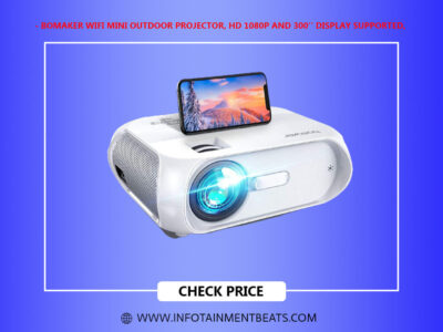 Bomaker WiFi Mini Outdoor Projector HD 1080P and 300 Display Supported