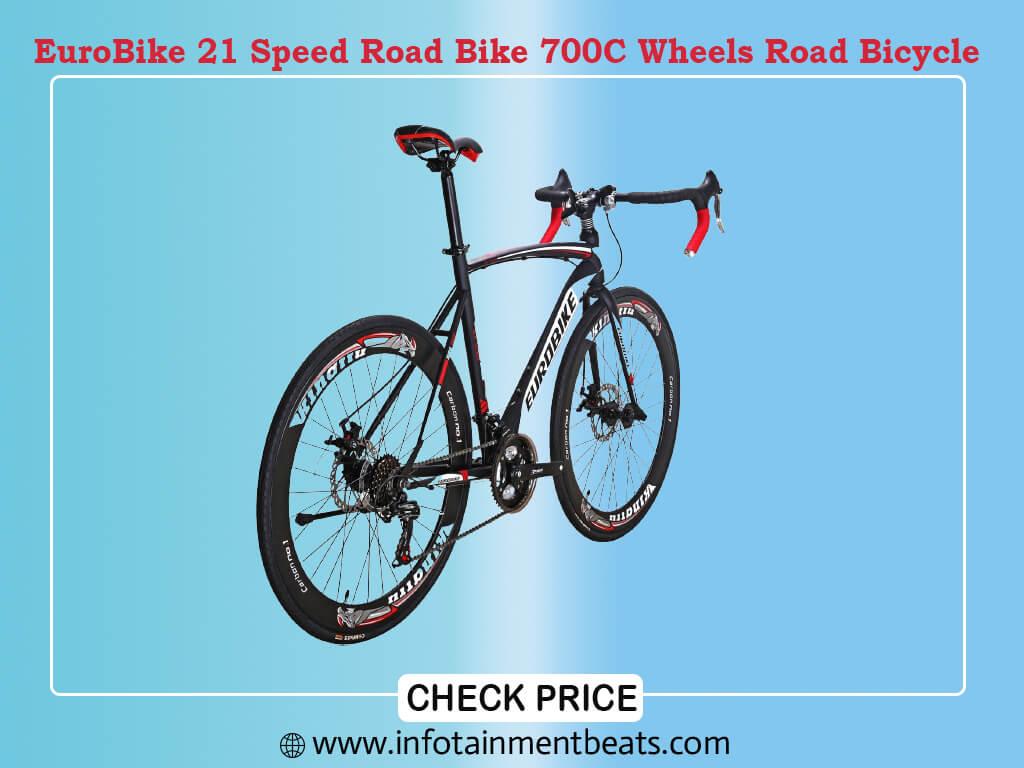 EuroBike 21 Speed Road Bike 700C Wheels Road Bicycle Dual Disc Brake Bicycles