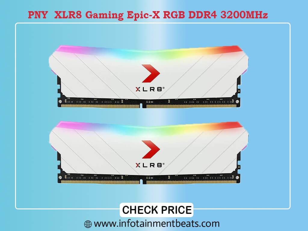 PNY 32GB (2x16GB) XLR8 Gaming Epic-X RGB DDR4 3200MHz Desktop Memory RAM White Edition