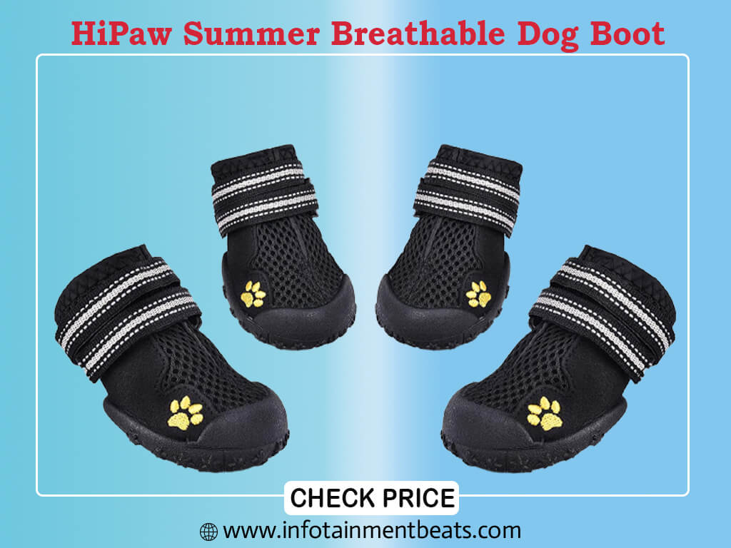 HiPaw Summer Breathable Dog Boot Reflective Strap Rugged Non Slip Sole for Hot Pavement