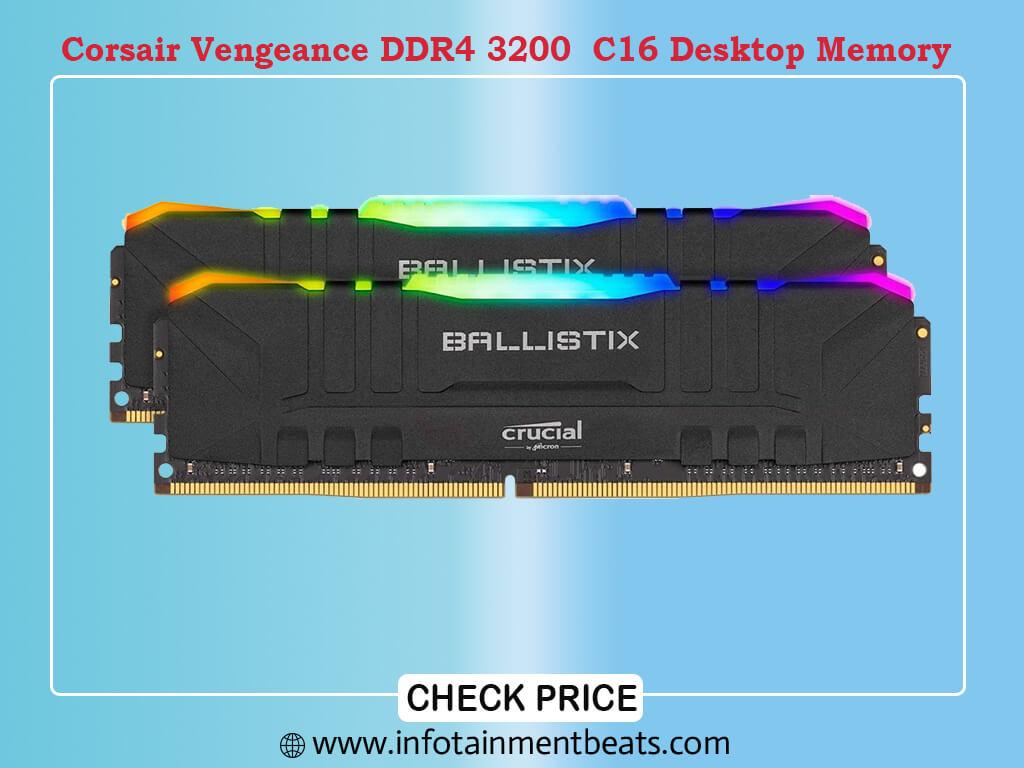 Crucial Ballistix RGB 3200 MHz DDR4 DRAM Desktop Gaming Memory Kit 16GB (8GBx2) CL16 BL2K8G32C16U4BL (Black)
