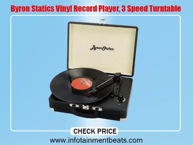 Byron Statics Vinyl Record Player, 3 Speed Turntable