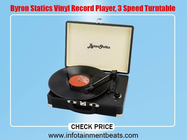Byron Statics Vinyl Record Player, 3 Speed Turntable