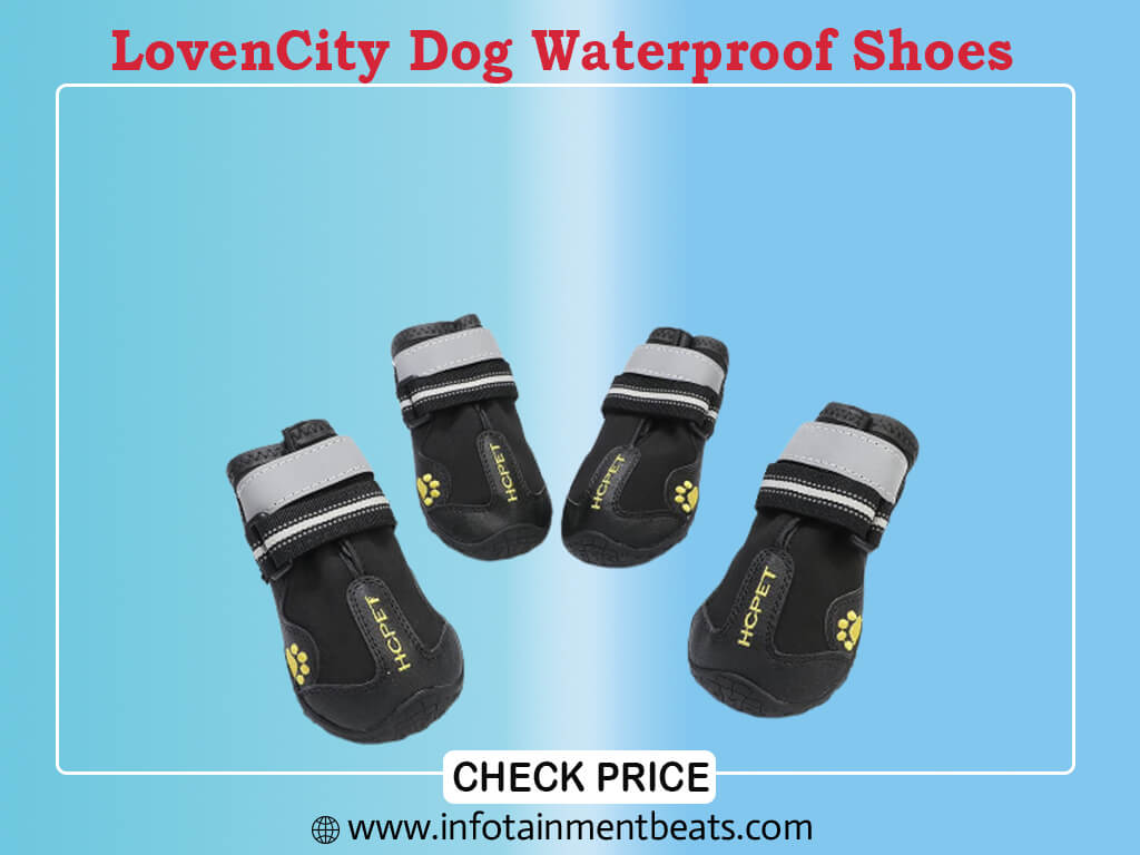 LovenCity Dog Boots Dog Waterproof Shoes with Adjustable Reflective Straps