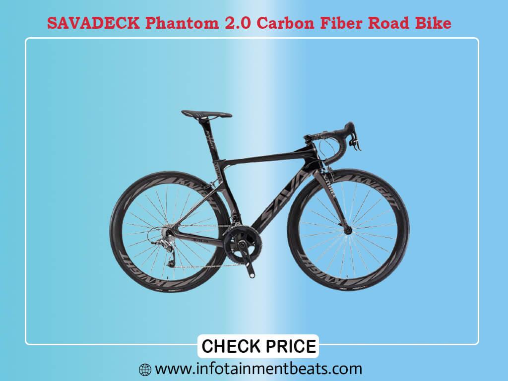 SAVADECK Phantom 2.0 Carbon Fiber Road Bike 700C Racing Bicycle with Ultegra 8000 22 Speed Group Set, 25C Tire and Fizik Saddle