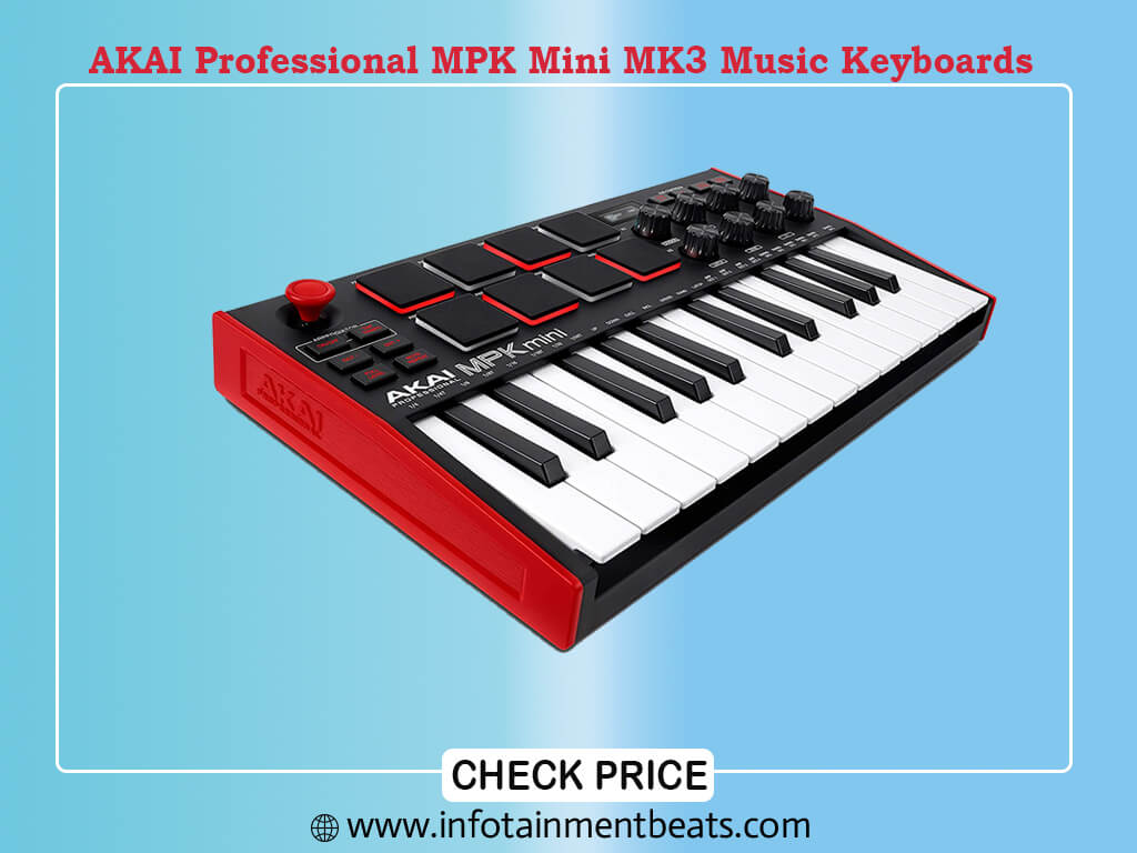 AKAI Professional MPK Mini MK3 - 25 Key USB MIDI Keyboard Controller With 8 Backlit Drum