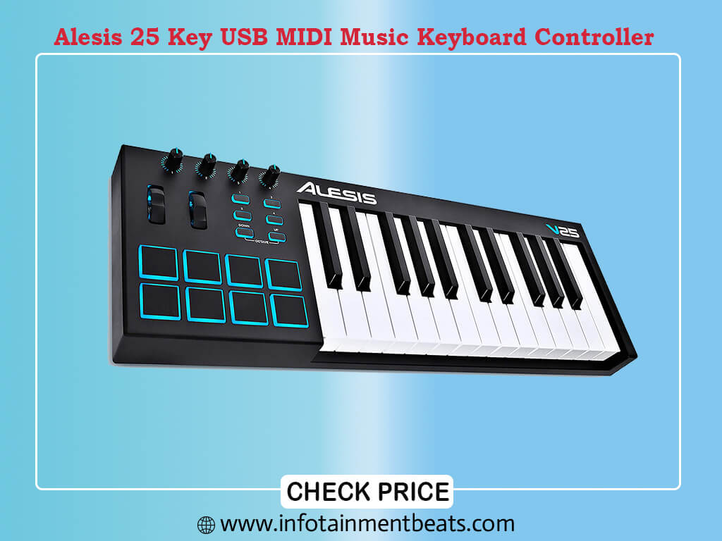 Alesis V25 25 Key USB MIDI Keyboard Controller with Backlit Pads, 4 Assignable Knobs and Buttons
