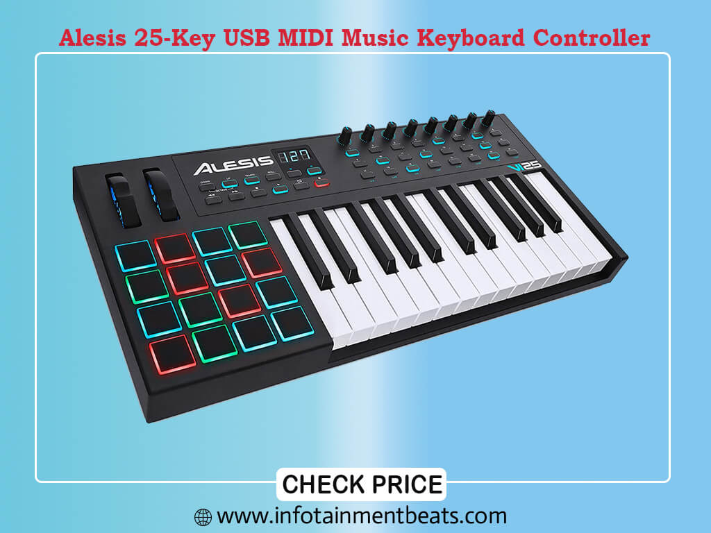 Alesis VI25 25-Key USB MIDI Keyboard Controller with 16 Pads, 16 Assignable Knobs,