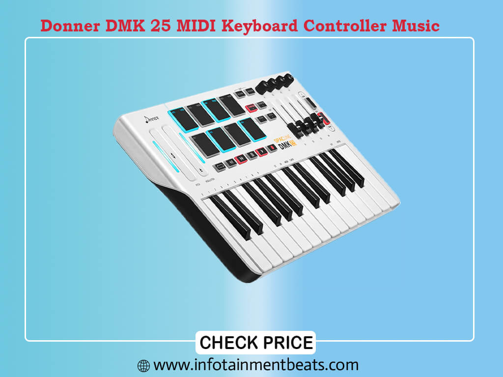 Donner DMK 25 MIDI Keyboard Controller Music Mini Key With 8 Backlit Drum Pads, 4