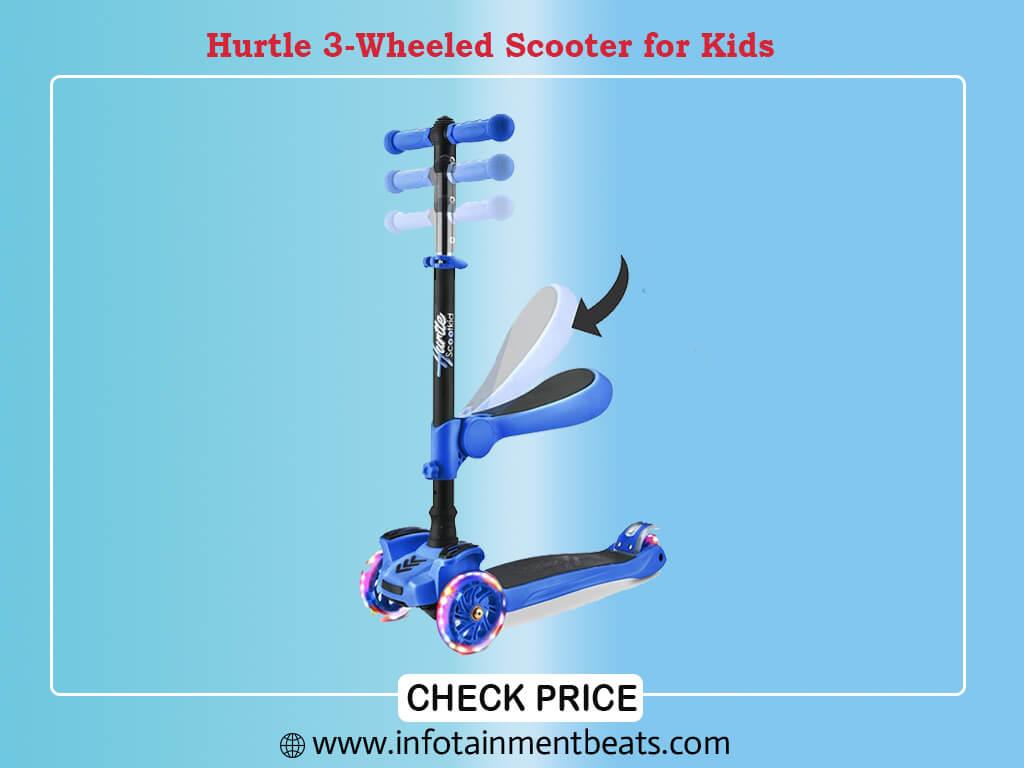 Hurtle 3-Wheeled Scooter for Kids - Wheel LED Lights, Adjustable