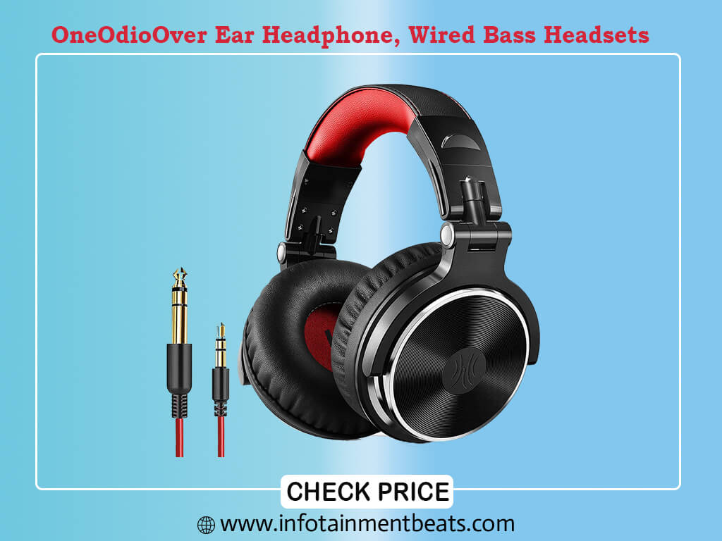 OneOdioOver Ear Headphone, Wired Bass Headsets with 50mm Driver, Foldable Lightweight Headphones with