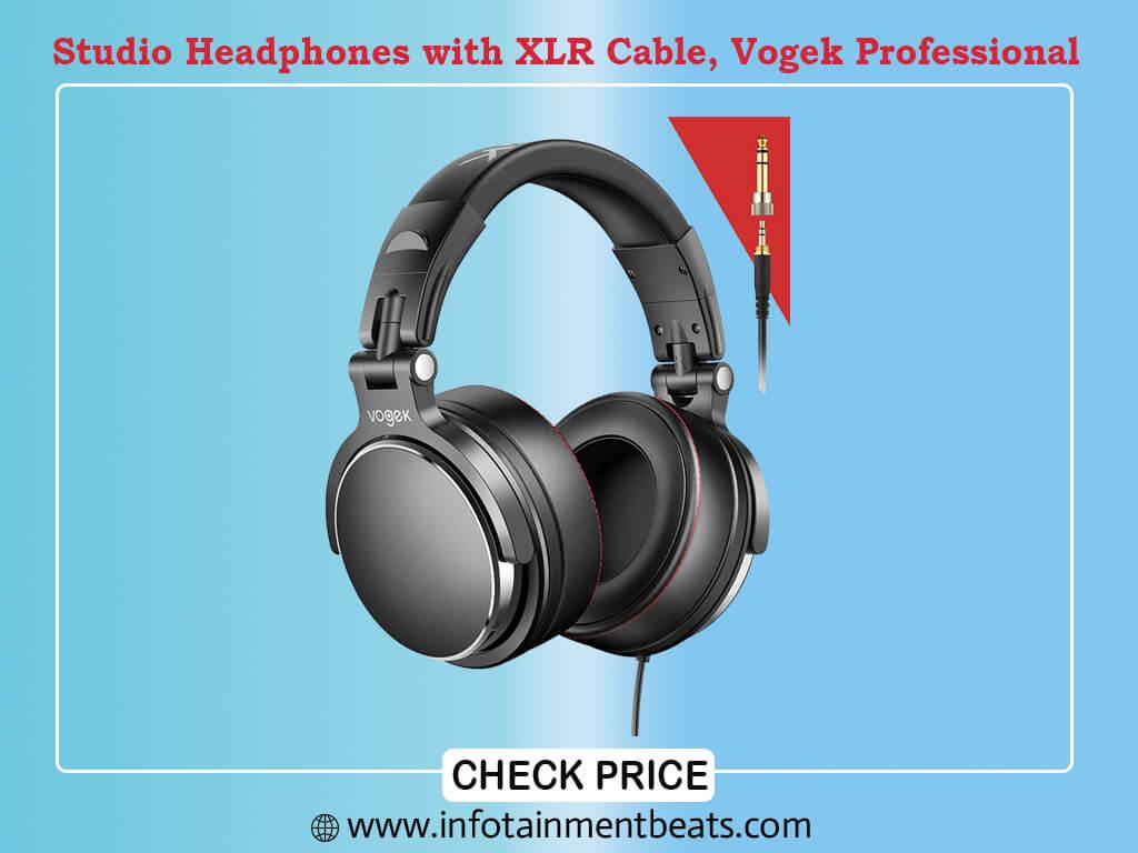 Studio Headphones with 6.6ft XLR Cable, Vogek Professional DJ Headphones Mixing DJ