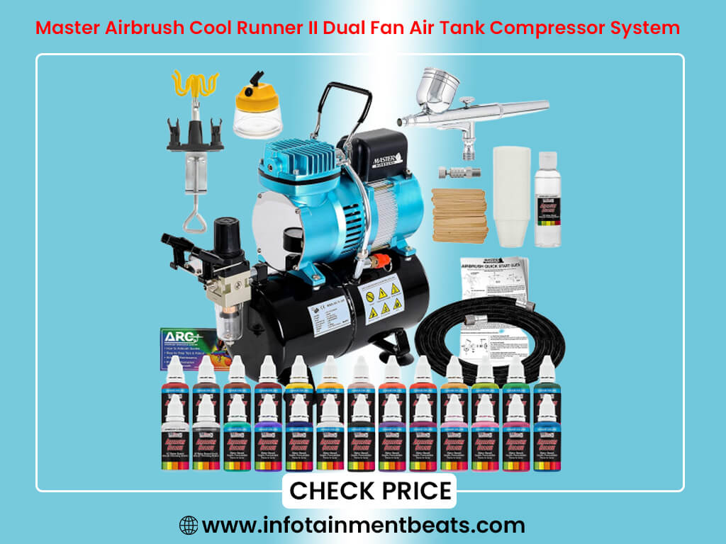 Master Airbrush Cool Runner II Dual Fan Air Tank Compressor System